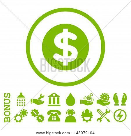 Finance glyph icon. Image style is a flat pictogram symbol inside a circle, eco green color, white background. Bonus images are included.