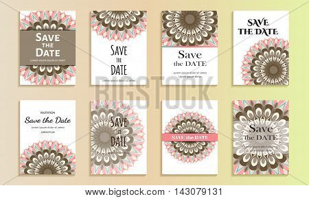 Set of cards save the date. Vintage template brown circular pattern. Vector illustration for corporate identity, individual cards, form style.