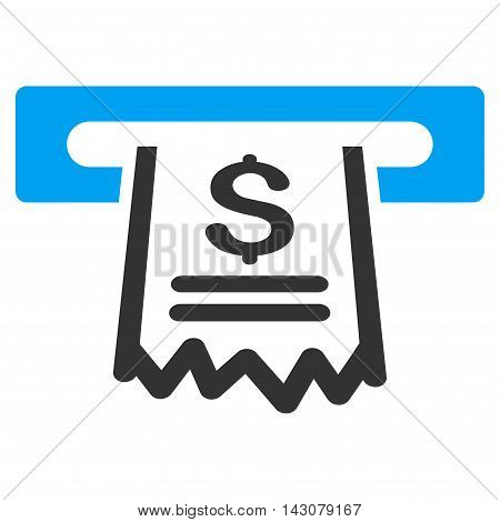 Paper Receipt Machine icon. Vector style is bicolor flat iconic symbol with rounded angles, blue and gray colors, white background.