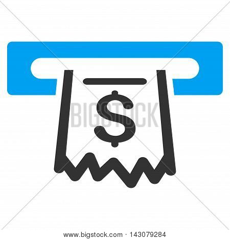 Paper Receipt Terminal icon. Vector style is bicolor flat iconic symbol with rounded angles, blue and gray colors, white background.