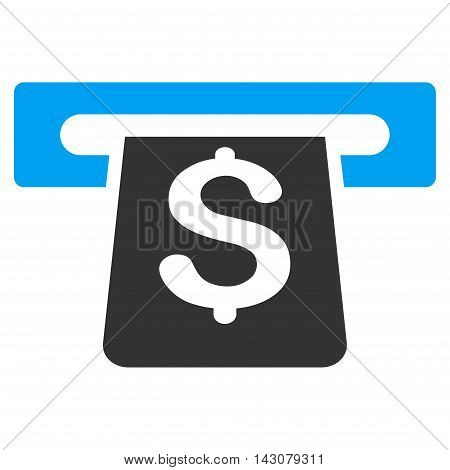 Payment Terminal icon. Vector style is bicolor flat iconic symbol with rounded angles, blue and gray colors, white background.