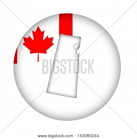 Canada state of Saskatchewan map flag button isolated on a white background.