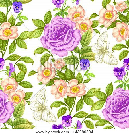 Floral seamless pattern. Flowers roses peonies pansies butterflies. Design paper wallpaper cards invitations packaging textiles interior decoration upholstery fabrics. Vector. Victorian.