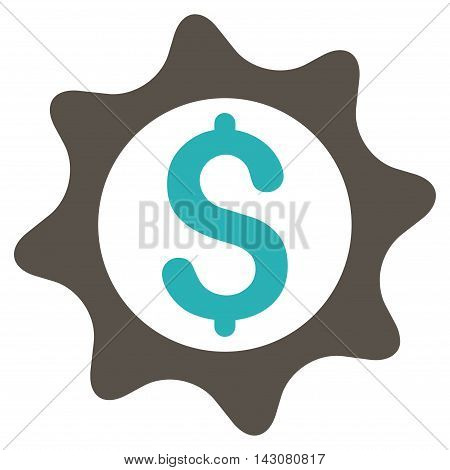 Money Seal icon. Vector style is bicolor flat iconic symbol with rounded angles, grey and cyan colors, white background.