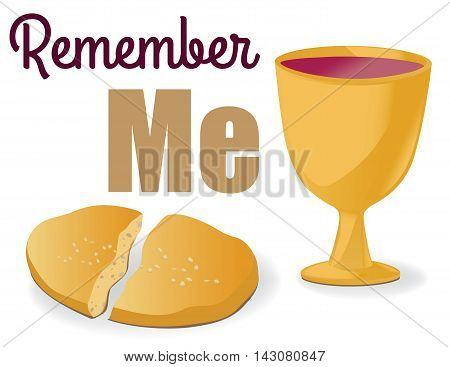 Illustration of communion symbols - bread and wine in chalice