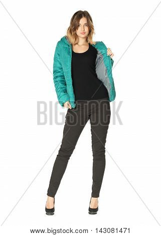 Full Length Portrait Of Woman Posing In Coat Isolated