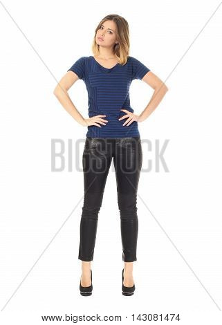 Beautiful Woman In Leather Pants Isolated On White