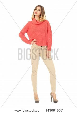 Portrait Of Stylish Model In Beige Jeans