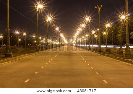 Electric light in perspective canal, Night view background