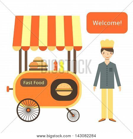 Cute flat style fast food street cart with shelter wheels hamburgers ketchup mustard. Male seller in uniform saying welcome
