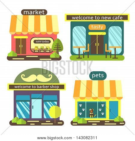 Cute flat style street shops set including supermarket coffee shop barber shop pet store. Buildings icons collection
