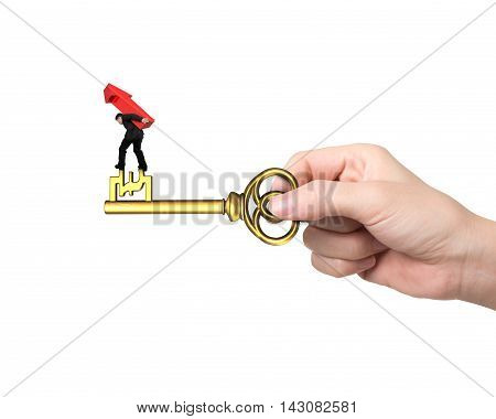Man Carrying Arrow Up Balancing On Key In Pound Sign