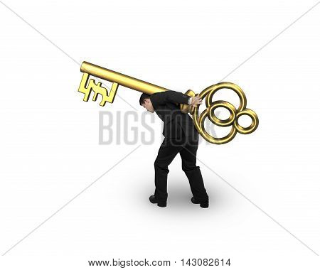 Man Carrying Golden Treasure Key In Pound Symbol Shape