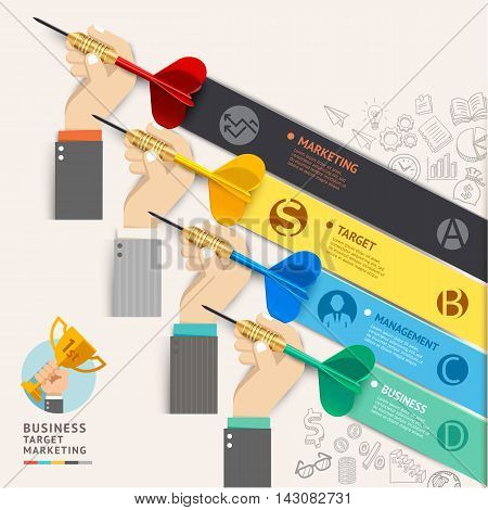 Business target marketing concept. Businessman hand with dart and doodles icons. Vector illustration. Can be used for workflow layout banner diagram number options web design infographic template timeline.