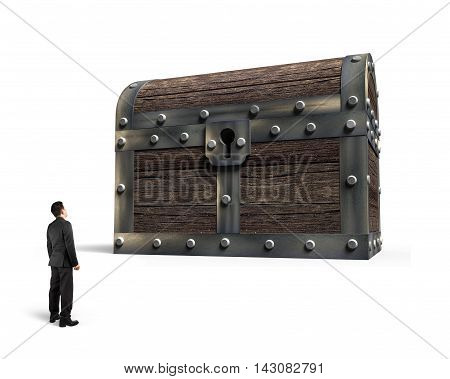 Big Old Treasure Chest With Small Man Looking At