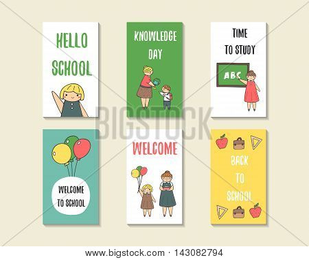Cute doodle back to school cards brochures invitations with pupil girl boy teacher globe backpack book balloon apple blackboard Cartoon objects background Printable templates tags set
