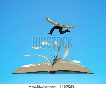 Running money on top of flipping pages of open book isolated in blue background 3D rendering