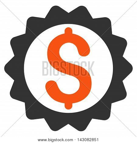 Financial Seal icon. Vector style is bicolor flat iconic symbol with rounded angles, orange and gray colors, white background.