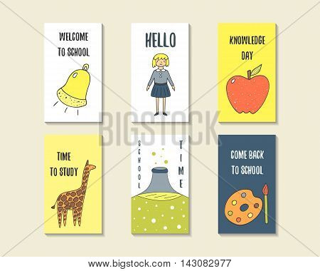 Cute doodle back to school cards brochures invitations with bell apple giraffe paint brush pupil girl chemistry flask. Cartoon objects background. Printable templates tags set