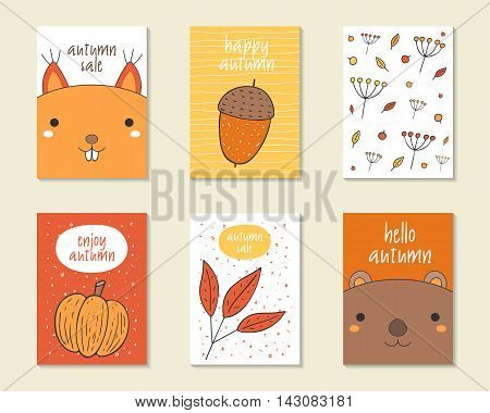 Cute doodle autumn cards brochures invitations with acorn squirrel berries plants leaves pumpkin beaver Cartoon objects background Printable templates set