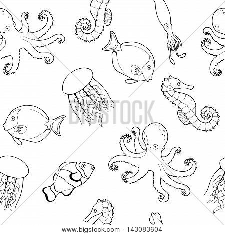 Sea life fish graphic art black white seamless pattern illustration vector