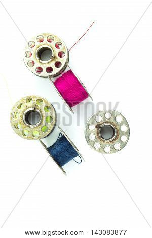 bobbins for machine sewing isolated on white background