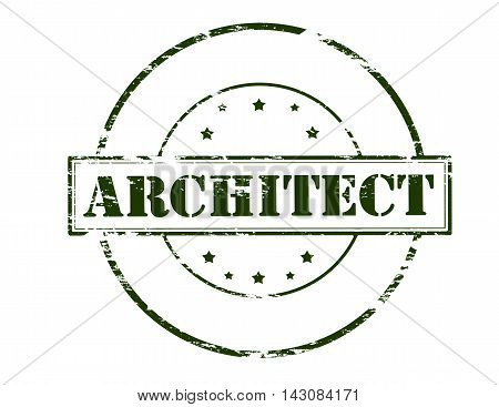 Rubber stamp with word architect inside vector illustration