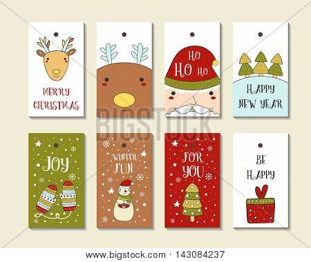Cute hand drawn doodle Christmas cards brochures postcards with snowman santa deer christmas tree present snowflakes mittens snow. Christmas holiday background elements Printable tags set