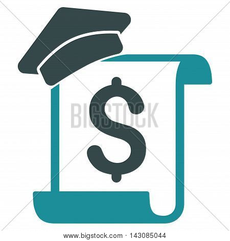 Education Invoice icon. Vector style is bicolor flat iconic symbol with rounded angles, soft blue colors, white background.