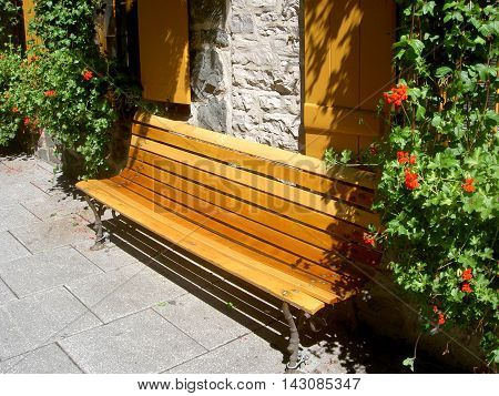 Wooden street bench in Quebec City, Canada