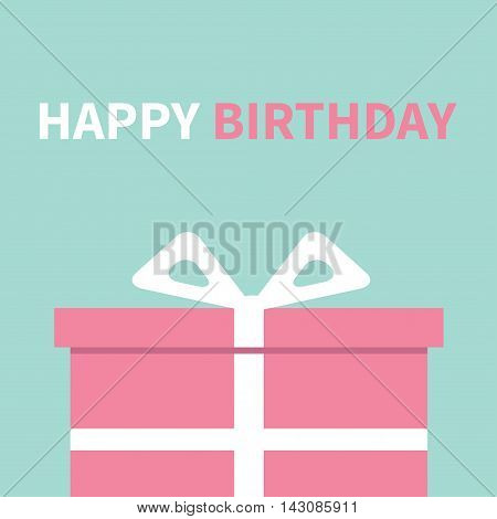 Gift box with ribbon and bow. Present giftbox. Happy Birthday greeting card. Blue background. Isolated. Flat design. Vector illustration
