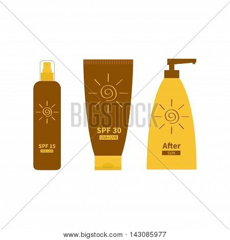 After sun lotion. Tube of sunscreen suntan oil cream. Bottle set. Solar defence. Spiral sun sign symbol icon. SPF 15 30 sun protection factor. UVA UVB sunscreen. Isolated White background. Flat Vector