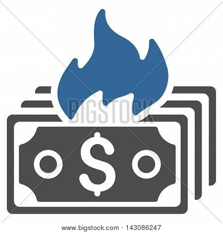 Burn Banknotes icon. Vector style is bicolor flat iconic symbol with rounded angles, cobalt and gray colors, white background.