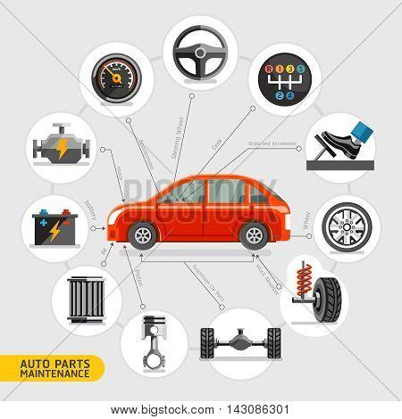 Auto parts maintenance icons set. Vector illustration.
