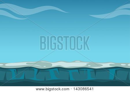 Deep blue sky over still ocean background. Water horizon vector illustration