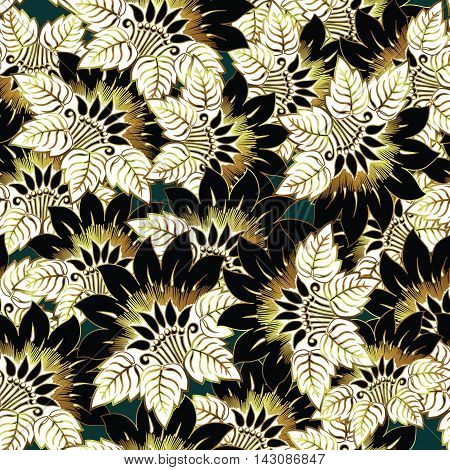 Black Floral vector seamless pattern background  with very tender gold black white  flowers  and romantic ornaments.Stylish  illustration and 3d decor elements with shadow and highlights
