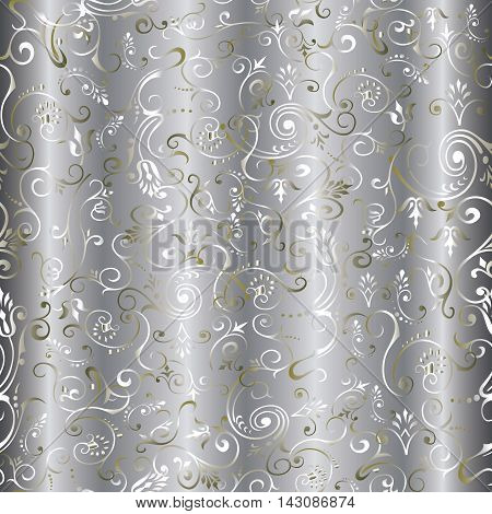 Light vintage floral vector seamless pattern background with tender gold and silver line art ornaments.Stylish  illustration and 3d decor elements with shadow and highlights. Endless elegant  texture.