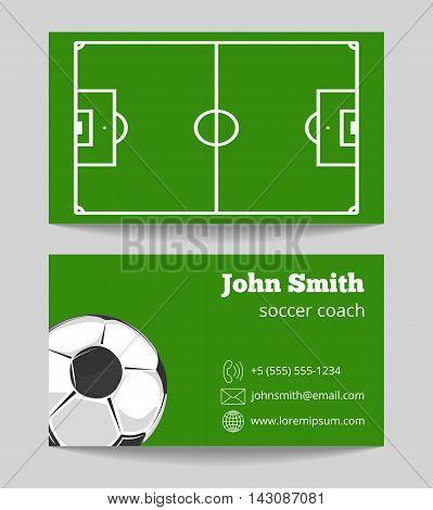 Soccer green field business card template. Football field on card, vector illustration