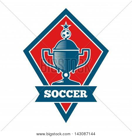Vector soccer logo, badge, emblem template in red and blue. Football banner for competition game illustration