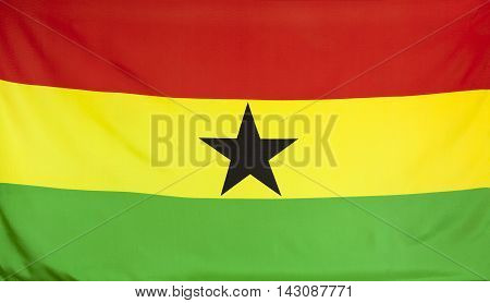 Ghana Flag real fabric seamless close up
