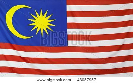 Malaysia Flag real fabric seamless close up