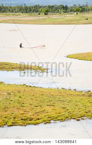 Traditional Throw Net Fishing In Asia,