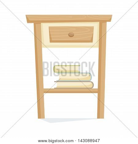 Bedside table with book vector illustration. Cartoon cabinet isolated on white
