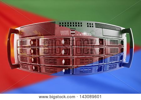Concept Server with the Flag of Eritrea for use as local or country internet and hardware security image idea