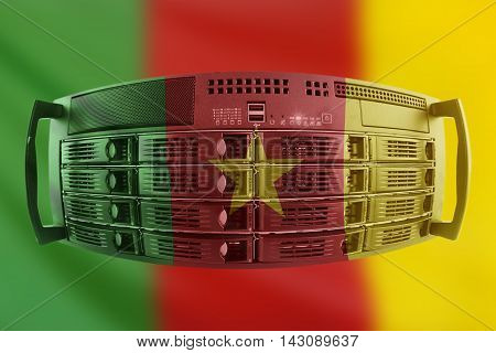 Concept Server with the Flag of Cameroon for use as local or country internet and hardware security image idea