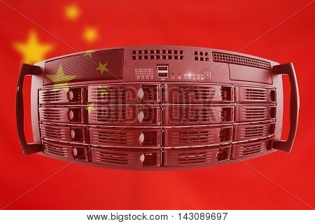 Concept Server with the Flag of China for use as local or country internet and hardware security image idea