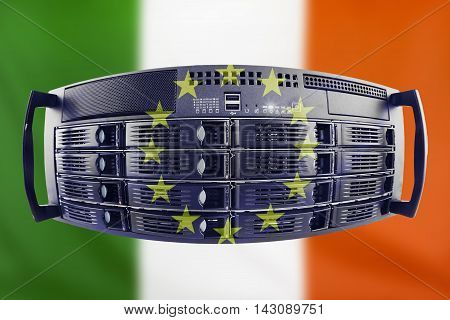 Concept Server with the Flags of Europe and Republic of Ireland for use as country or european internet and hardware security image idea