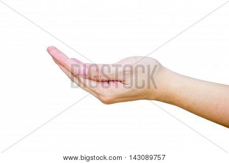 Open Female Hand Isolated On White Background With Clipping Path