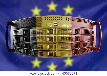 Concept Server with the Flags of Europe and Belgium for use as country or european internet and hardware security image idea
