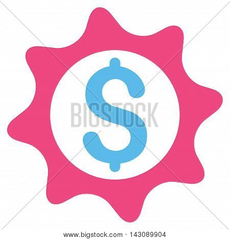 Money Seal icon. Vector style is bicolor flat iconic symbol with rounded angles, pink and blue colors, white background.